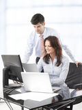 Businessmen working with his colleague Royalty Free Stock Photo