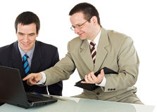 Businessmen working on the laptop Stock Images