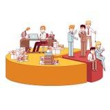 Businessmen working, taking break on big pie chart Stock Image