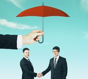 Teamwork and protection concept royalty free stock photography