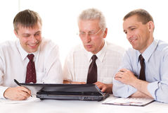 Businessmen working  on a white background Royalty Free Stock Photography