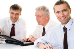 Businessmen working  on a white background Royalty Free Stock Images