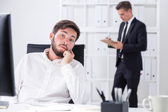 Businessmen working in white office Stock Photo