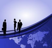 Businessmen and World Map. Background with businessman silhouettes, world map and space for text Stock Photos