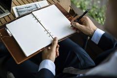 Businessmen Write Note Notebook Plan Stock Photo