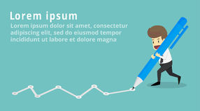 Businessmen are writing graph goals breakthrough with pen.Busin. Ess young cartoon happiness of success concept is man character.View businessman emotions moving vector illustration