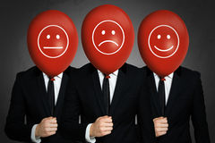 Businessmens με τα κόκκινα μπαλόνια Στοκ εικόνες με δικαίωμα ελεύθερης χρήσης