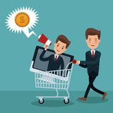 Businessman and money cartoons. Businessmens promoting shopping vector illustration graphic design Stock Photo