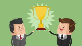 Successfull businessmens cartoon HD animation. Businessmens with trophy cup High Definition animation colorful scenes stock footage
