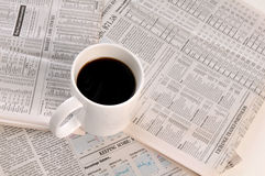 Businesspapers and cup of coffee Stock Images