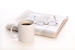 Businesspapers, cup of coffee and glasses Royalty Free Stock Photos