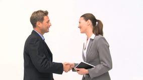 Businesspeople που μιλά για έναν διορισμό απόθεμα βίντεο