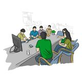 Businesspeople στην επιχειρησιακή συνεδρίαση για το μέλλον που λύνει το στην αρχή διανυσματικό χέρι σκίτσων απεικόνισης προβλημάτ διανυσματική απεικόνιση