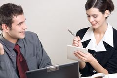 Businesspeople. Businessman and Businesswoman at work Stock Image