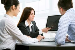 Businesspeople. Work at modern office stock photos