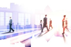 Meeting and discussion concept. Businesspeople in abstract blurry office interior with sunlight and city view. Meeting and discussion concept. Double exposure Stock Photo