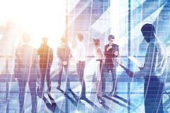 Businesspeople on city background. Businesspeople on abstract city background. Meeting and group conference concept. Double exposure Stock Photos