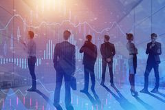 Finance and conference concept. Businesspeople in abstract meeting room with forex chart. Finance and conference concept. Double exposure Royalty Free Stock Photography