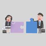 Businesspeople arguing. Puzzles don´t fit. Royalty Free Stock Images