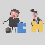 Businesspeople  arguing. Puzzles don´t fit. Royalty Free Stock Photo