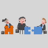 Businesspeople arguing. Puzzles don´t fit. Royalty Free Stock Image