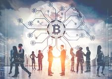 Businesspeople, bitcoin network, planet Royalty Free Stock Photography