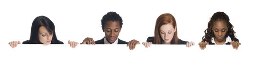 Businesspeople - blank sign Stock Photography