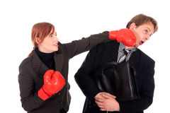 Businesspeople boxing gloves Royalty Free Stock Photos