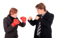 Businesspeople boxing gloves Royalty Free Stock Image