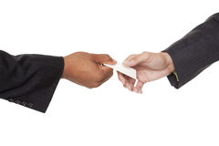 Businesspeople - business card exchange Royalty Free Stock Photos