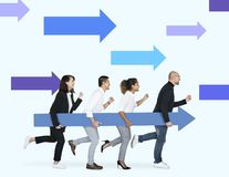 Businesspeople carrying a blue arrow to the goal royalty free stock photo