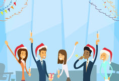Businesspeople Celebrate Merry Christmas And Happy Royalty Free Stock Photos