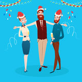 Businesspeople Celebrate Merry Christmas And Happy New Year Office Business People Team Santa Hat Stock Photos