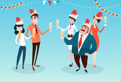 Businesspeople Celebrate Merry Christmas And Happy New Year Office Business People Team Santa Hat Stock Images