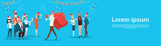 Businesspeople Celebrate Merry Christmas And Happy New Year Office Business People Team Santa Hat. Flat Vector Illustration Royalty Free Stock Images