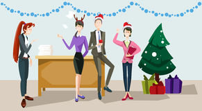 Businesspeople Celebrate Merry Christmas And Happy New Year Office Business People Team Santa Hat Royalty Free Stock Photo