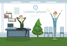 Businesspeople Celebrate Merry Christmas And Happy New Year Office Business People Team Santa Hat Royalty Free Stock Photography