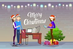 Businesspeople Celebrate Merry Christmas And Happy New Year People Group Santa Hat Royalty Free Stock Photo