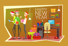 Businesspeople Celebrate Merry Christmas And Happy New Year People Group Santa Hat Royalty Free Stock Image