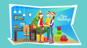 Businesspeople Celebrate Merry Christmas And Happy New Year People Group Santa Hat Stock Photos