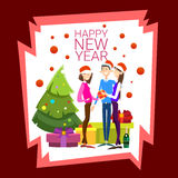 Businesspeople Celebrate Merry Christmas And Happy New Year People Group Santa Hat Stock Image