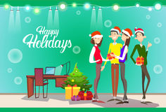 Businesspeople Celebrate Merry Christmas And Happy New Year People Group Santa Hat Stock Images
