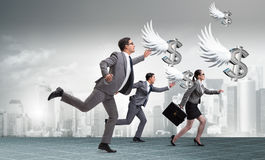 The businesspeople chasing angel investor funding. Businesspeople chasing angel investor funding Royalty Free Stock Image