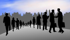 Businesspeople in city. Illustrated silhouettes businesspeople on a city backdrop royalty free illustration