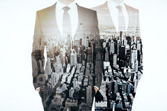 Businesspeople on city background multiexposure Stock Photos