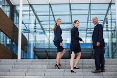 Businesspeople climbing up the stairs Stock Images