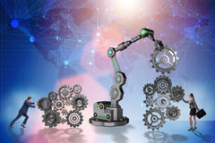 The businesspeople with cogwheel and robotic arm Royalty Free Stock Image