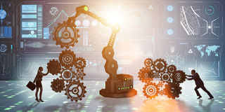 The businesspeople with cogwheel and robotic arm Stock Image