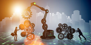 The businesspeople with cogwheel and robotic arm Stock Images