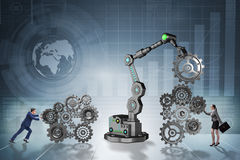The businesspeople with cogwheel and robotic arm Royalty Free Stock Photos